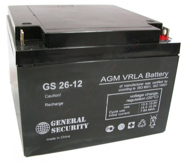 GS 26-12 - аккумулятор General Security 26ah 12V